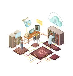 Server Room Isometric vector image vector image