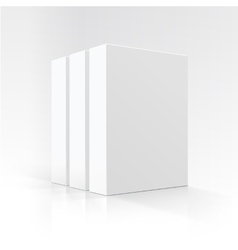 Set of blank white vertical carton boxes vector