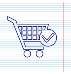 Shopping cart with check mark sign navy vector
