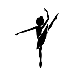 Silhouette dancer high leg pose shoulder to vector