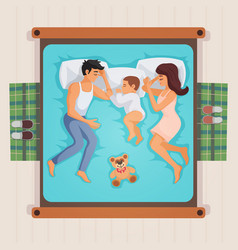 Sleeping family top view vector