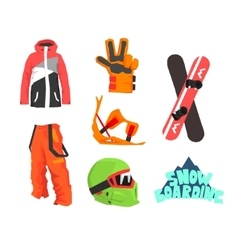 Snowboarding Gear Collection vector image