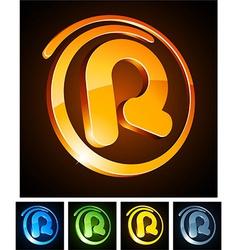 Vibrant 3d r letter vector image