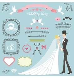Wedding decor setflat bridegroomswirlsbadges vector