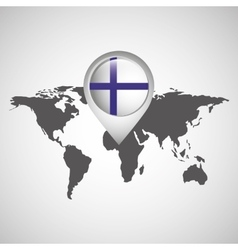world map with pointer flag finland vector image vector image