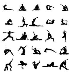 Yoga silhouette set vector