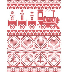 Xmas tall pattern with gravy train and xmas vector