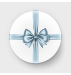 White round gift box with light blue bow isolated vector