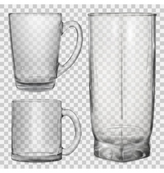 Two transparent glass cups and one glass vector