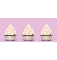 The set of three delicious cakes vector image