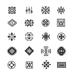 Traditional tribal mexican symbols navajo ethnic vector