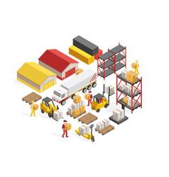 Warehouse logistics isometric concept vector