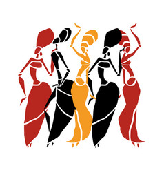 beautiful dancers silhouette vector image