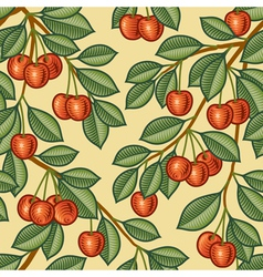 Seamless cherry background vector image
