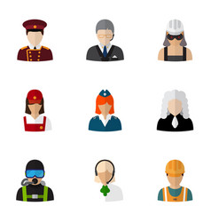 Set of 9 editable occupation flat icons includes vector