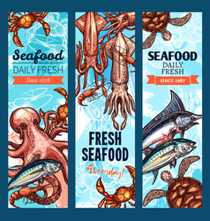 seafood and fish market banner set with sea animal vector image