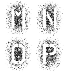 Stencil angular spray font letters m n o p vector