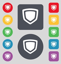 Shield icon sign a set of 12 colored buttons flat vector