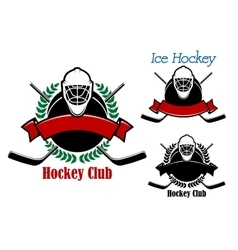 Ice hockey club emblems with sport items vector