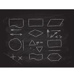 flowcharts design elements on blackboard vector image