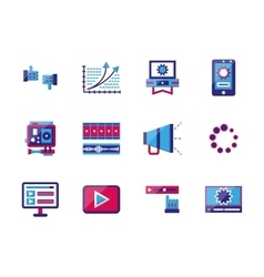 Video blogging flat color icons vector