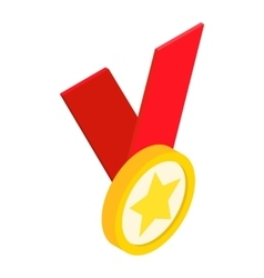 Medal with star on a red ribbon isometric 3d icon vector
