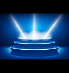 Empty stage lit with lights on blue background on vector