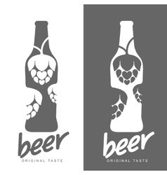 Set beer logos simple gray labels vector