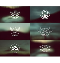 Viking emblems and blurred background vector