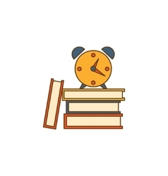Alarm clock on books vector