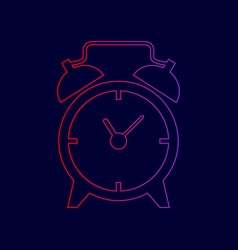 Alarm clock sign line icon with gradient vector