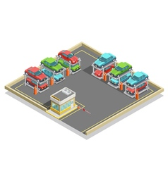 Automatic parking isometric concept vector
