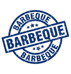 barbeque blue round grunge stamp vector image vector image