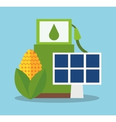 Bio fuel solar panel and corn desigin vector