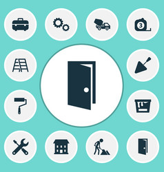 Building icons set collection of paint roller vector