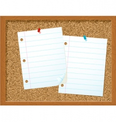 corkboard and papers vector image vector image