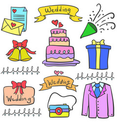 Doodle of wedding party element vector