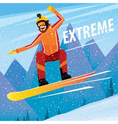 Downhill from the mountain on a snowboard vector