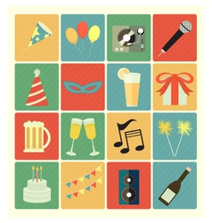 flat icons party vector image vector image