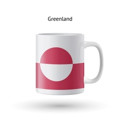 Greenland flag souvenir mug on white background vector