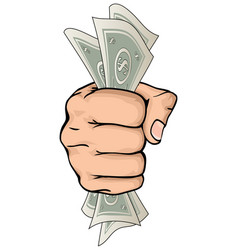 Hand holding money drawing vector