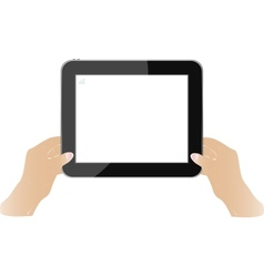 Hands holding touch screen tablet pc with blank vector image