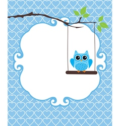 invitation card owl blue vector image
