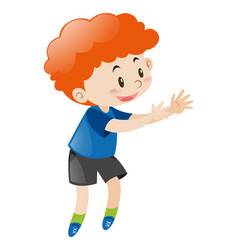 little boy with red curly hair vector image
