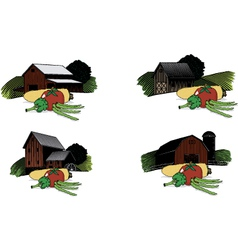 old barn scenes with vegetables vector image vector image