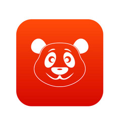 Panda icon digital red vector