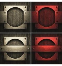 pollished metal on wooden background set vector image