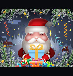 santa claus cute new year hold light gift box vector image vector image