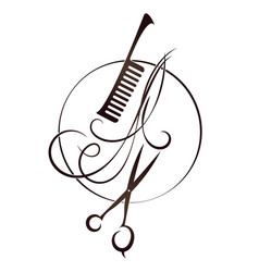Scissors and hairbrush beauty salon symbol vector