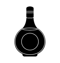 silhouette cognac bottle alcochol drink style vector image vector image